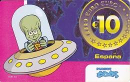 TARJETA DE ESPAÑA DE 10 EUROS DE UN MARCIANO EN UNA NAVE ESPACIAL (OVNI) - Espacio