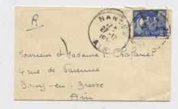 FRANCE : MARIANNE DE GANDON 15F BLEU N° Yvert 886 SUR ENVELOPPE PETIT FORMAT DU 27/12/5? NANTUA - 1945-54 Marianne De Gandon