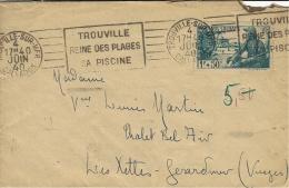 """1940- Enveloppe Affr. N°452 SEUL  """" Pour Nos Soldats """"  Oblit. R B V  De Trouville - Postmark Collection (Covers)"""