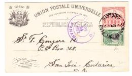 PERU Ganzsache 2 Centavos Mit 2C Zusatz Ges. 11.11.1922 Nach San José Transit Stempel Panama - Pérou
