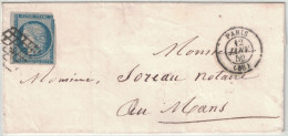 France - Ceres N°4 25c Bleu Sur Lettre 1852 Obliteration Grille + Cad De Paris (60) à Destination Du Mans - 1849-1850 Cérès