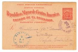 San Salvador Ganzsache 3 Centavos Ges. 13.7.1898 Nach San José Costa Rica - Salvador