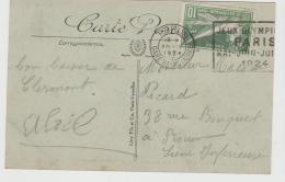 Oy174/ Olympiamarke 1924 Mit Passendem Maschinenstempel Paris Auf AK Chermont-Ferrrand