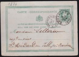 Belgique - Entier Postal 1877 Bruxelles Pour Saint Médard En Jalles - Postales [1871-09]