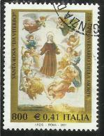 ITALIA REPUBBLICA ITALY REPUBLIC 2001 SANTA ROSA DA VITERBO USATO USED OBLITERE´ - 6. 1946-.. Repubblica