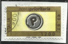 ITALIA REPUBBLICA ITALY REPUBLIC 2001 POSTA PRIORITARIA PRIORITY MAIL LIRE 1200 USATO USED OBLITERE´ - 6. 1946-.. Repubblica