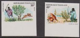 TOGO - Scarce 1975 IMPERF Hunting Animals. Scott 909-910. Superb MNH ** - Togo (1960-...)