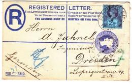 GRANDE BRETAGNE ALLEMAGNE - FINSBURY DRESDE - 1893 - RECOMMANDEE ENTIER POSTAL 2P + COMPLEMENT D AFFRANCHISSEMENT 2 1/2D - Marcophilie