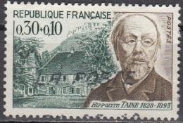 France 1966 Yvert 1475 O Cote (2012) 0.50 Euro Philosophe Hippolyte Taine - Oblitérés