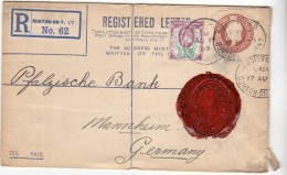 BURTON MANNHEIM - 1909 - RECOMMANDEE N° 62 ENTIER POSTAL + COMPL D AFF 1 1/2 - CACHET DE CIRE - Marcofilie