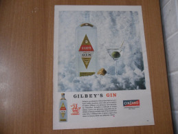 PUBBLICITà ADVERTISING  GILBEY'S GIN CINZANO - Other