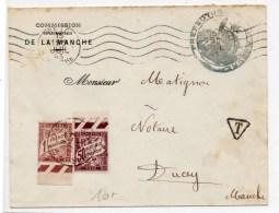 1943 - ENVELOPPE De La COMMISSION DEPARTEMENTALE DE LA MANCHE CONDOM -> TAXEE à DUCEY - Taxes