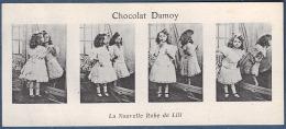 Ancien Marque Page 19 ème Siècle Publicité Chocolat Damoy Héliotypie 4 Photos Photo La Nouvelle Robe De Lili Fillette - Bookmarks