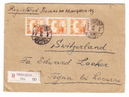 Heimat TI Tegna 5.5.1944 AK-Stempel Auf R-Brief Von Harbin Manchurei Rücks. Durchgangs-o Istanbul Rot - Poststempel