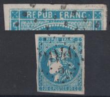 """VARIETE Sur BORDEAUX N° 46 TB : LEGENDE """"ERANC"""" Au Lieu De """"FRANC"""" - TIMBRE SANS DEFAUT Obliteration GC - 1870 Emission De Bordeaux"""