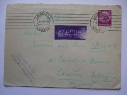 GERMANY 1937 COVER LEIPZIG TO LONDON MIT LUFTPOST IN PURPLE - Allemagne