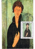 17509. Tarjeta Maxima CREIL (France) 1980. Pintura Modigliani. Mujer Ojos Azules - Cartas Máxima