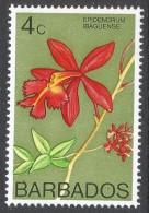 Barbados. 1974 Orchids. 4c MH. SG 488 - Barbados (1966-...)