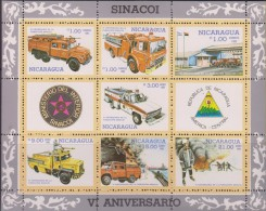 E)1985 NICARAGUA, FIREFIGHTERS, FIRE TRUCKS, EMERGENCY, NATL. FIRE BRIBADE, SINACOI, 6TH ANNIV, MINISHEET, MNH - Nicaragua