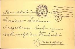 Briefkaart - Postkaart - Bruxelles Naar Chemins De Fer - Bruges Brugge - 1923 - Adel Douairière De Potter Ixelles - Entiers Postaux