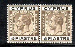 W2754 - CIPRO 1924 , GIORGIO V 3/4 Piastra N. 88 : Coppia  ***  MNH - Cyprus (...-1960)