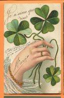 LOL556, Je N'aime Que Vous, I Love You, Trèfle, Circulée 1906 - Fancy Cards