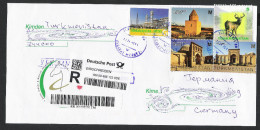 Turkmenistan R-Brief 2015 Registered Letter Cover UNESCO-Welterbe Monuments 2013 Fauna Maral 2009 - Turkmenistan