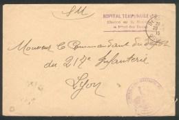 25 - Besançon - Cachet Hôpital Temporaire N° 8 La Mouillère Et Service Physiotherapie  - 20 08 1915 - Marcophilie (Lettres)
