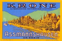 """05169 """"ASSMANNSHAUSEN AM RHEIN - ALTBERUHMTER HISTORISCHER GASTHOF"""" ETICHETTA ORIGINALE - Adesivi Di Alberghi"""