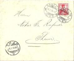 Brief  Basel - Thun  (Rollenfrankatur)          1913 - Suisse