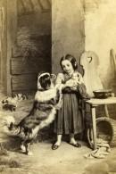 Allemagne Peinture Sollicitude Maternelle Par Meyerheim Ancienne CDV Photo Schauer 1865 - Photographs