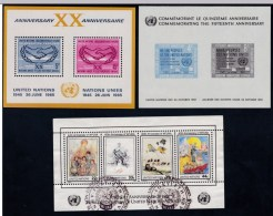 Lot Of 3, United Nations Souvenir Sheets, Sc#85 MNH 1960 Issue, #145 MNH, ICY Emblem; #493 Used World Fed. UN Orgs. - New York - Sede De La Organización De Las NU