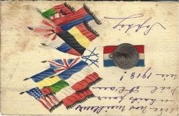 WWI - 1917 /18 -Carte Patriotique Artisanale Avec Médaille , Drapeaux Peints Et Ruban - Guerra 1914-18