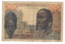 Togo 100 Fr, 1957, Used, See Scan, Free Sh. To USA. - Togo