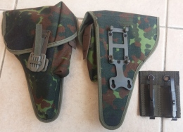ORIGINAL GERMAN ARMY WALTHER P1 , P38 PISTOL HOLSTER W/ BELT ADAPTER - Equipement