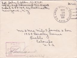 Obl US ARMY POSTAL SERVICE 18/11/44 APO 125 VILLACOUBLAY Seine Et Oise Sur Lettre FM > Colorado USA  - CENSURE US - Marcophilie (Lettres)