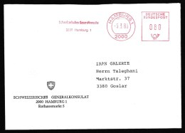 Germany: Cover, 1988, Meter Cancel, Consulate Of Switzerland (Embassy) (traces Of Use) - Brieven En Documenten