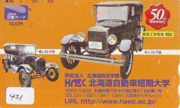 Télécarte JAPON * OLDTIMER *   (421) Phonecard JAPAN * VOITURE * Auto * CAR * TELEFONKARTE * - Cars