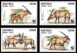 Erythrée Eritrea 282/85 WWF , Gazelle Oryx - W.W.F.
