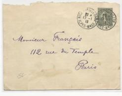 ALPES MARITIMES - 1919 - ENVELOPPE ENTIER TYPE SEMEUSE 146X110 De NICE QUARTIER DE LA GARE - Postal Stamped Stationery