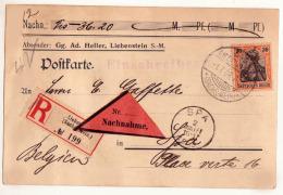 LIEBENSTEIN 1908   RECOMMANDE  /  HELLER  / RARE - Germany