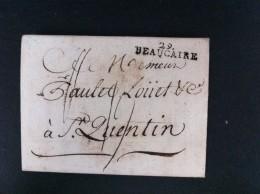 CARTA A ST QUIENTIN BEAUCAIRE 4 JULIO DE 1792 MARCA EN NEGRO 29 BEAUCAIRE  TASA MANUSCRITA 19 EN NEGRO - Marcophilie (Lettres)