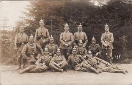CP Photo 14-18 ELSENBORN - Soldats Allemands, Casque à Pointe, Helmet (A140, Ww1, Wk 1) - Elsenborn (camp)