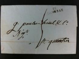 CARTA DE CABRAY A ST QUEENTIN 8 SEPTIEMBRE 1792 MARCA 57 CAMBRAY EN NEGRO TASA MANUSCRITA 5 DE PARTE EN NEGRO - Marcophilie (Lettres)