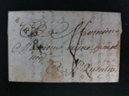 CARTA PEQUEÑA DE GIUVERVIL 8 JUNIO 1794 A ST QUENTIN MARCA 26 EUREUX EN NEGRO MARCA MANUSCRITA DE PORTES 8 EN NEGRO - Marcophilie (Lettres)