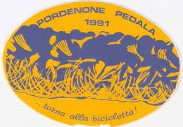 Adesivo Originale, Ovale PORDENONE PEDALA 1991  ... Torna Alla Bicicletta! - Giallo - Adesivi
