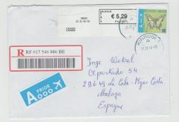 B360 /  BELGIEN - Automatenmarke + Zusatzmarke Schmetterling  Per Einschreiben 2016 Nach Spanien - Belgium