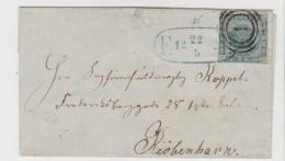 DK-C9017 / Fodtpost In Blau Auf Michel Nr. 3 III, Briefhülle Ohne Textinhalt - 1864-04 (Christian IX)