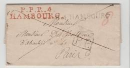 Ham034  HAMBURG - / Feuser 134 - 29 + Einzeiler 1349 - 27 Nach Paris 1810 Auf Kompl. Brief - Hamburg