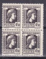 N° 644 Série D'Alger Coq Et Marianne 4f50 Noir: Bloc De 4 Timbres Neuf - France